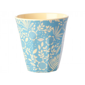 RICE Melamine Cup FERNS & FLOWERS light blue