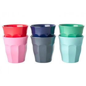 RICE 6 Melamine Cups BELIEVE IN RED LIPSTICK Colors