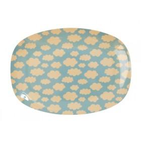 RICE small rectangular plate cloud print