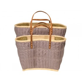 RICE shopping bag with leather handles brown