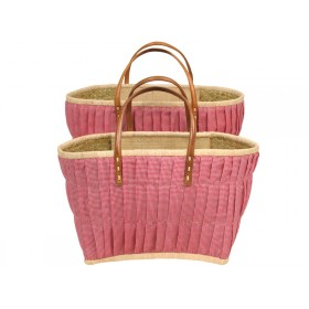 RICE shopping bag with leather handles red checked
