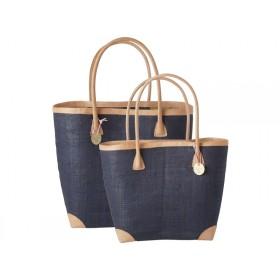 RICE Raffia Shopping Bag Navy brown/black