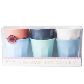 "RICE Melamine Espresso Cups ""Happy 21st!"" colors"