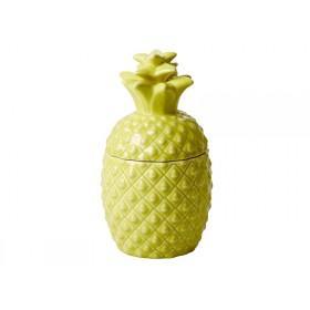 Small RICE ceramic jar pineapple shaped yellow
