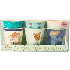 RICE Small Melamine Cups FARM ANIMALS green