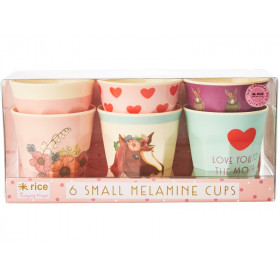 RICE Small Melamine Cups FARM ANIMALS pink