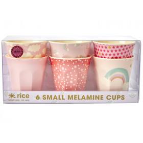RICE 6 Small Melamine Cups RAINBOW