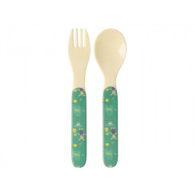 RICE Melamine Kids Spoon and Fork BUNNY green