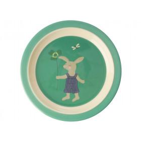 RICE Melamine Kids Plate BUNNY green