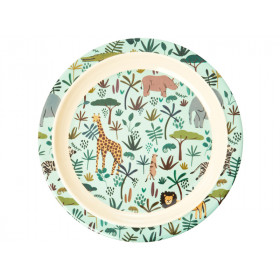 RICE Melamine Kids Plate JUNGLE green