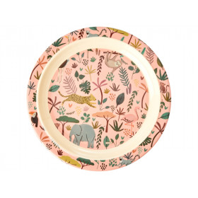 RICE Melamine Kids Plate JUNGLE rose