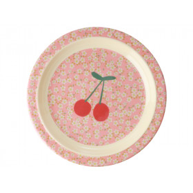 RICE Melamine Kids Plate FLOWERS & CHERRIES