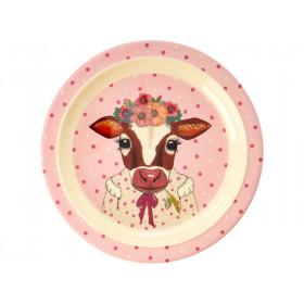 RICE Kids Melamine Plate COW
