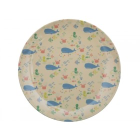 RICE Kids Melamine Lunch Plate OCEAN LIFE