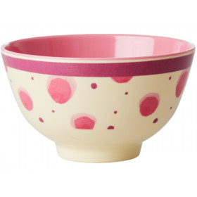 RICE Melamine Bowl with Watercolor Splash small pink