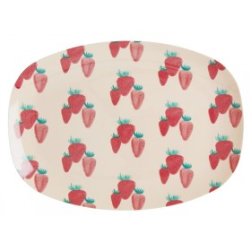 RICE small rectangular plate STRAWBERRIES