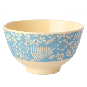 RICE Melamine Bowl FERNS & FLOWERS light blue small