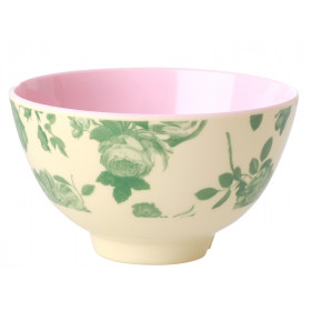 RICE Melamine Bowl GREEN ROSE small