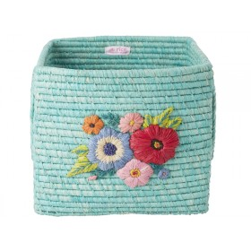 RICE Square Raffia Basket EMBROIDERED FLOWERS mint