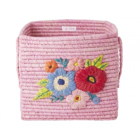 RICE Square Raffia Basket EMBROIDERED FLOWERS pink