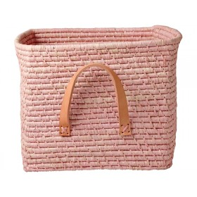 RICE basket leather handles soft pink