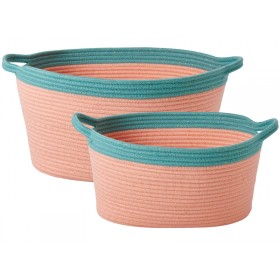 RICE basket oval coral petrol