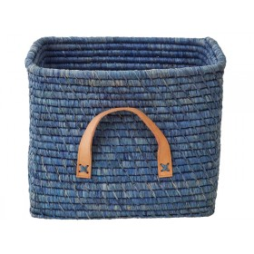 RICE basket in blue with leather handles