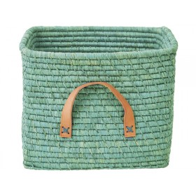 RICE basket in mint with leather handles