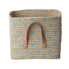 RICE Raffia Basket with BLUE DOTS