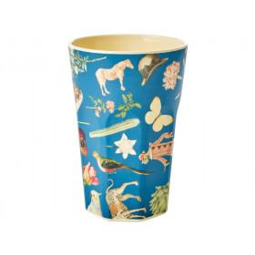 RICE Tall Melamine Cup ART PRINT blue