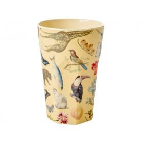 RICE Tall Melamine Cup ART PRINT creme