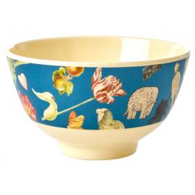 RICE Small Melamine Bowl ART PRINT blue