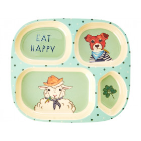 RICE 4 Room Plate FARM ANIMALS green