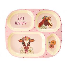 RICE 4 Room Plate FARM ANIMALS pink