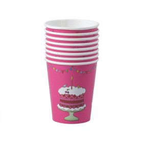 8 happy birthday paper cups in fuchsia by RICE Denmark
