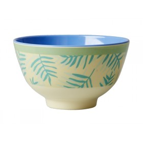 Small RICE melamine bowl palm leaves
