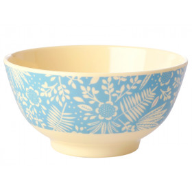 RICE Melamine Bowl FERNS & FLOWERS light blue
