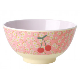 RICE Melamine Bowl FLOWERS & CHERRIES