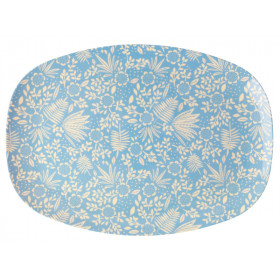 RICE Melamine Rectangular Plate FERNS & FLOWERS light blue