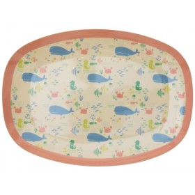 RICE Small Rectangular Melamine Plate OCEAN LIFE