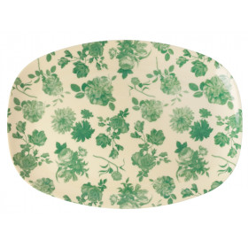 RICE Rectangular Plate GREEN ROSE