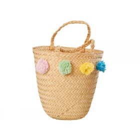 RICE Raffia Beach Bag Basket with Pompoms