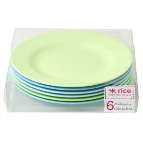 RICE side plates in blue and green colours