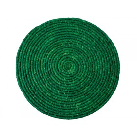 RICE Raffia Coaster Green