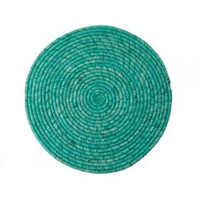 RICE Raffia Coaster Turquoise