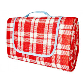 RICE Picnic Blanket CHECKED red and creme