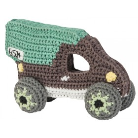 Sebra crochet rattle truck green