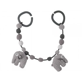 Sebra crochet pram chain elephant grey