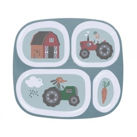 Sebra melamine 4 room plate farm boy