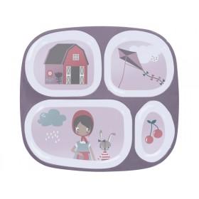 Sebra melamine 4 room plate farm girl